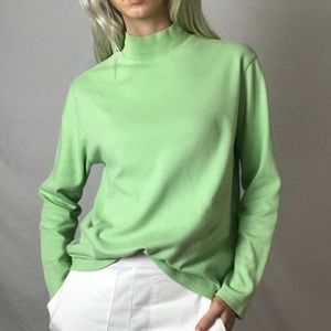 Lime Green Mock Neck Sweater